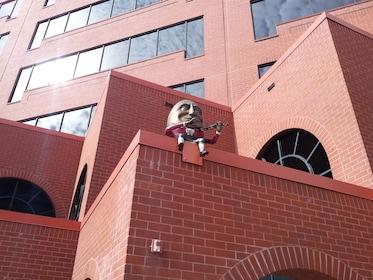 Humpty Dumpty sculpture on a wall