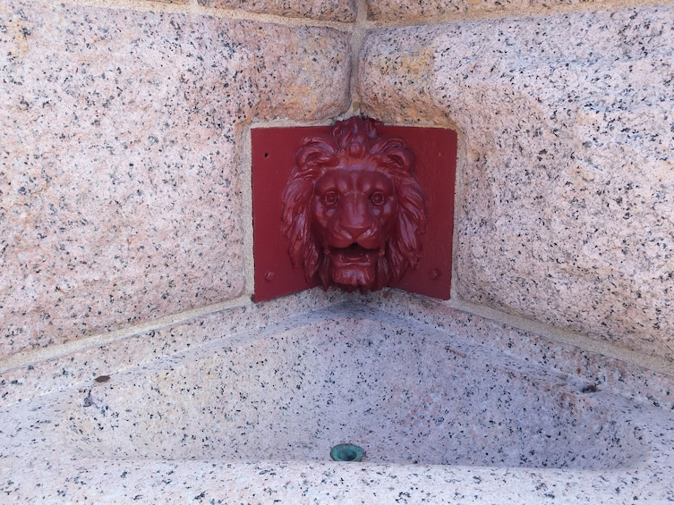 Show item 6 of 6. Red tile Lion fountain