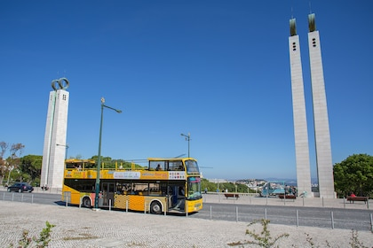 Bus tour on the streets of Lisbon during the day