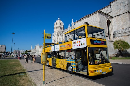 Lisbon Hop-On Hop-Off Tour bus in front of Jerónimos Monastery