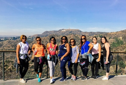 Hiking group with the Hollywood Sign in the background in LA