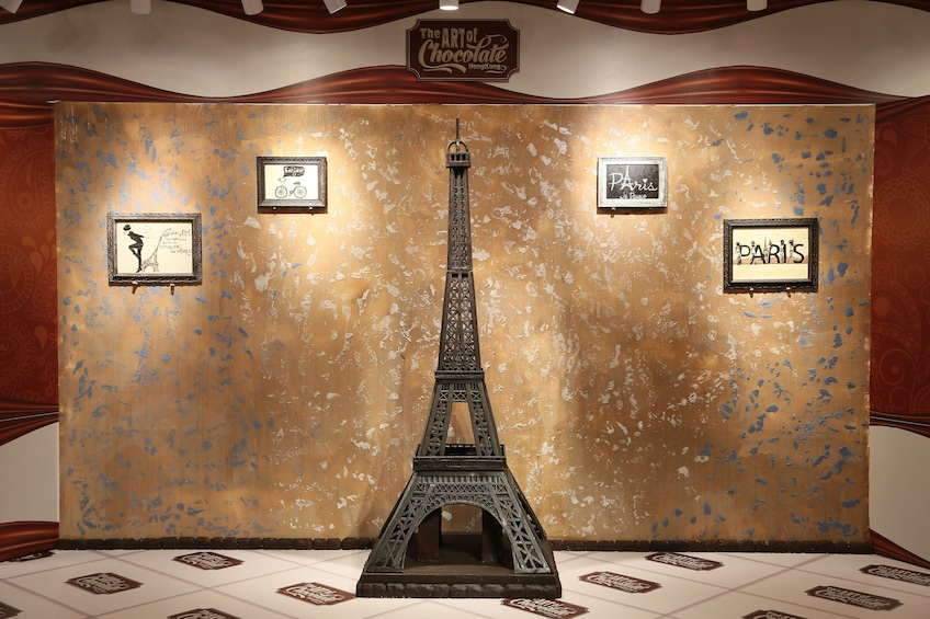 Show item 3 of 9. Chocolate Eiffel Tower at Art Of Chocolate Museum in Hong Kong