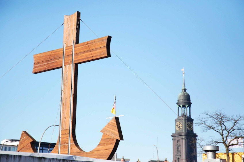 Show item 3 of 7. A large wooden anchor in Hamburg