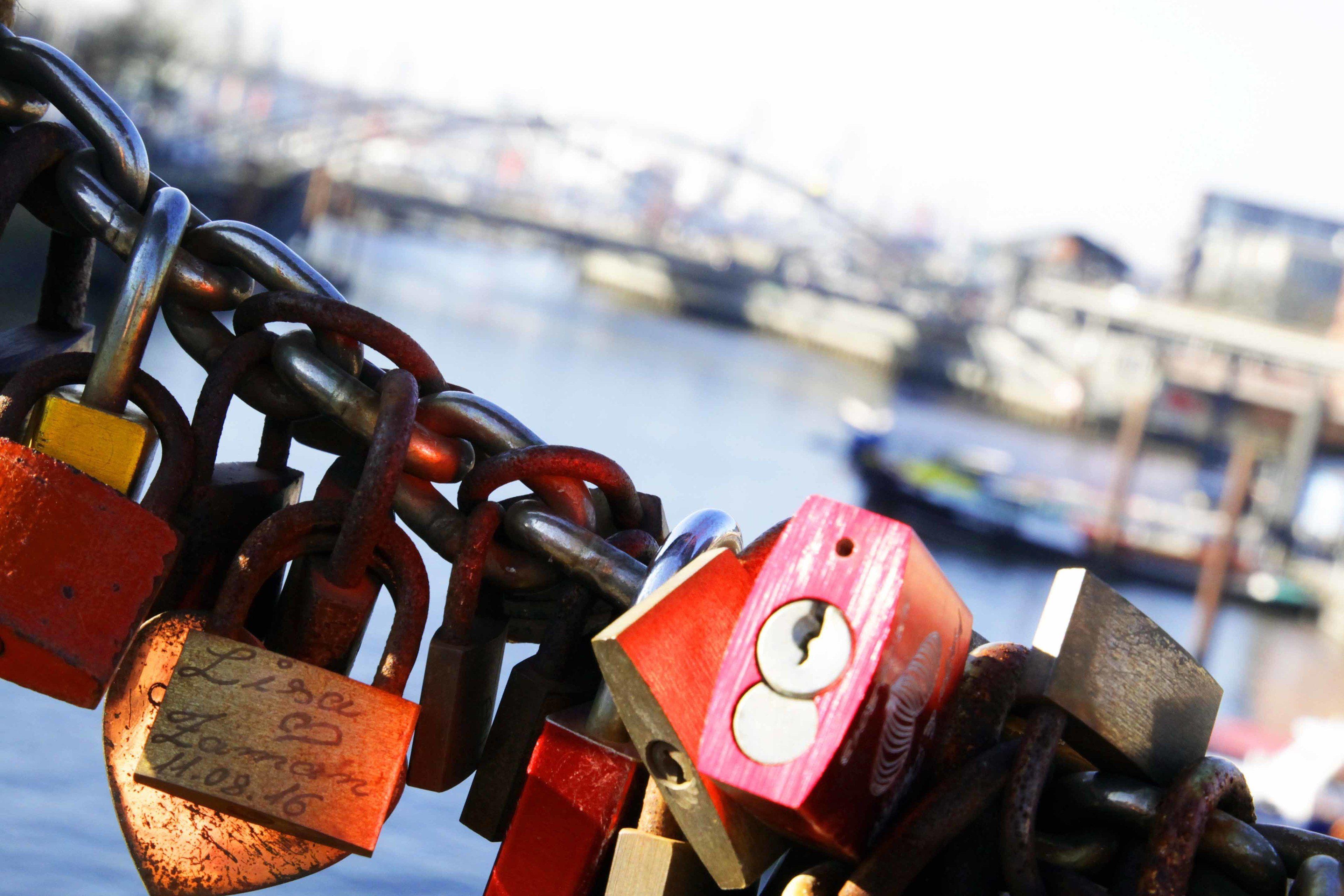 Locks on a bridge in Hamburg