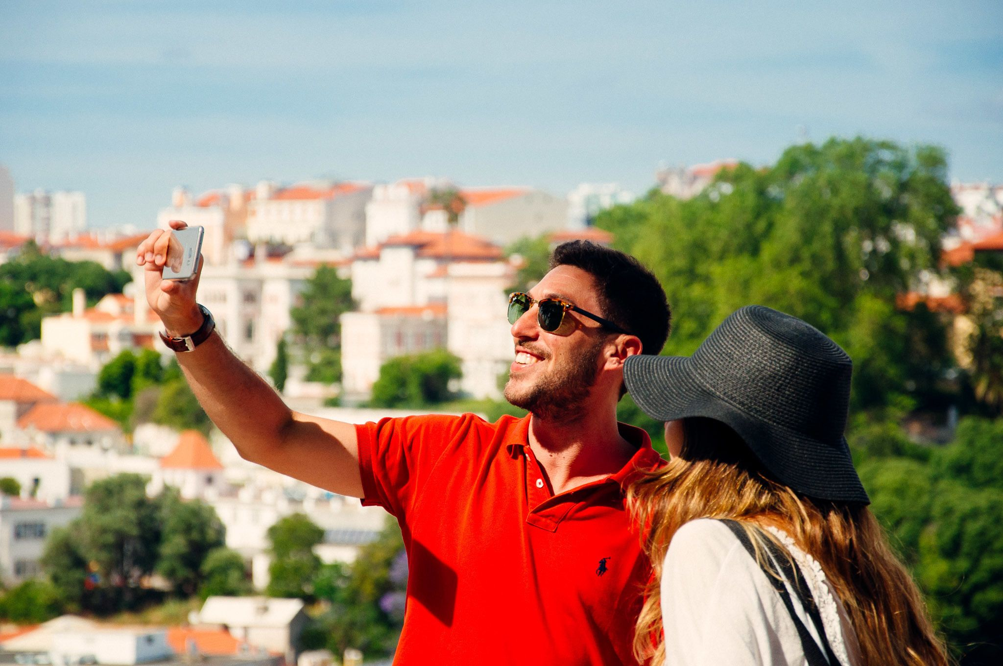 Couple takes a selfie in Lisbon