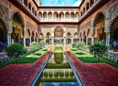 Vibrant view of the Alcázar of Seville