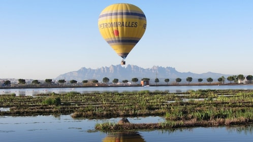 Hot Air Balloon lands in Montserrat, Spain