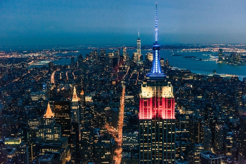 Show item 4 of 4. Bright night view of New York City