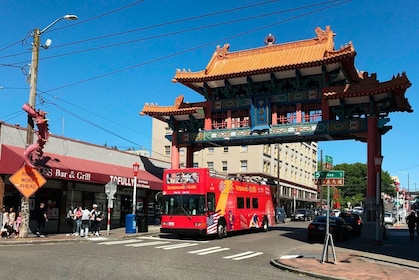 Hop-on hop-off bus in International District in Seattle