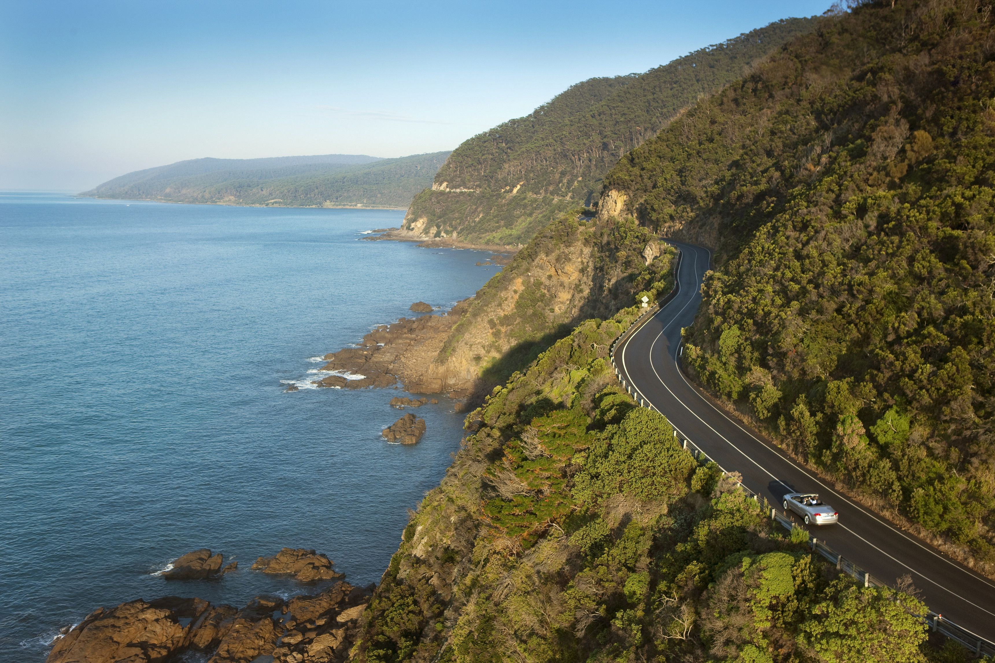 Winding coastal road in Melbourne
