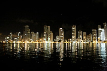 City lights at night in Cartagenas Bay