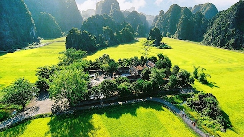 Aerial view of Hoa Lu Ancient Capital on a beautiful sunny day