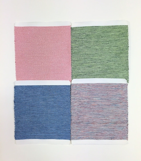 Show item 4 of 6. Four patches of pink, green, blue and purple fabric