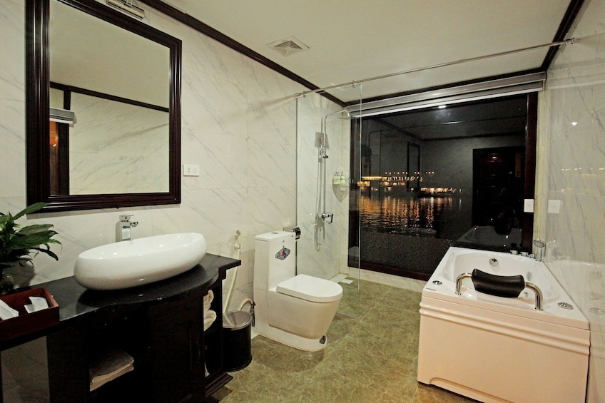 Show item 3 of 10. Bathroom on a cruise ship in Vietnam