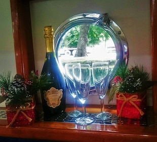Champagne next to a window in Canal Boat Restaurant in Dublin's Grand Canal