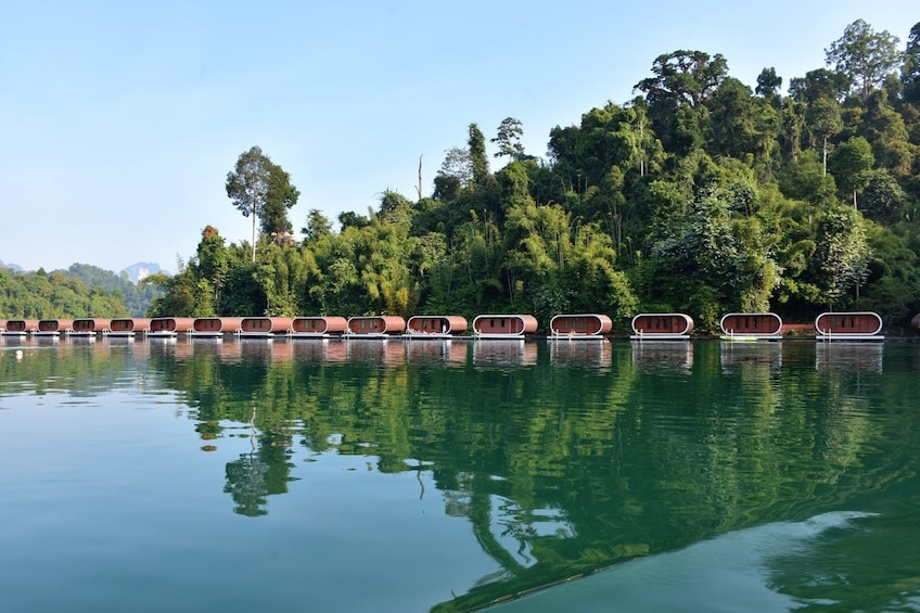 Show item 10 of 10. Floating cabins on Cheow Lan Lake in Thailand