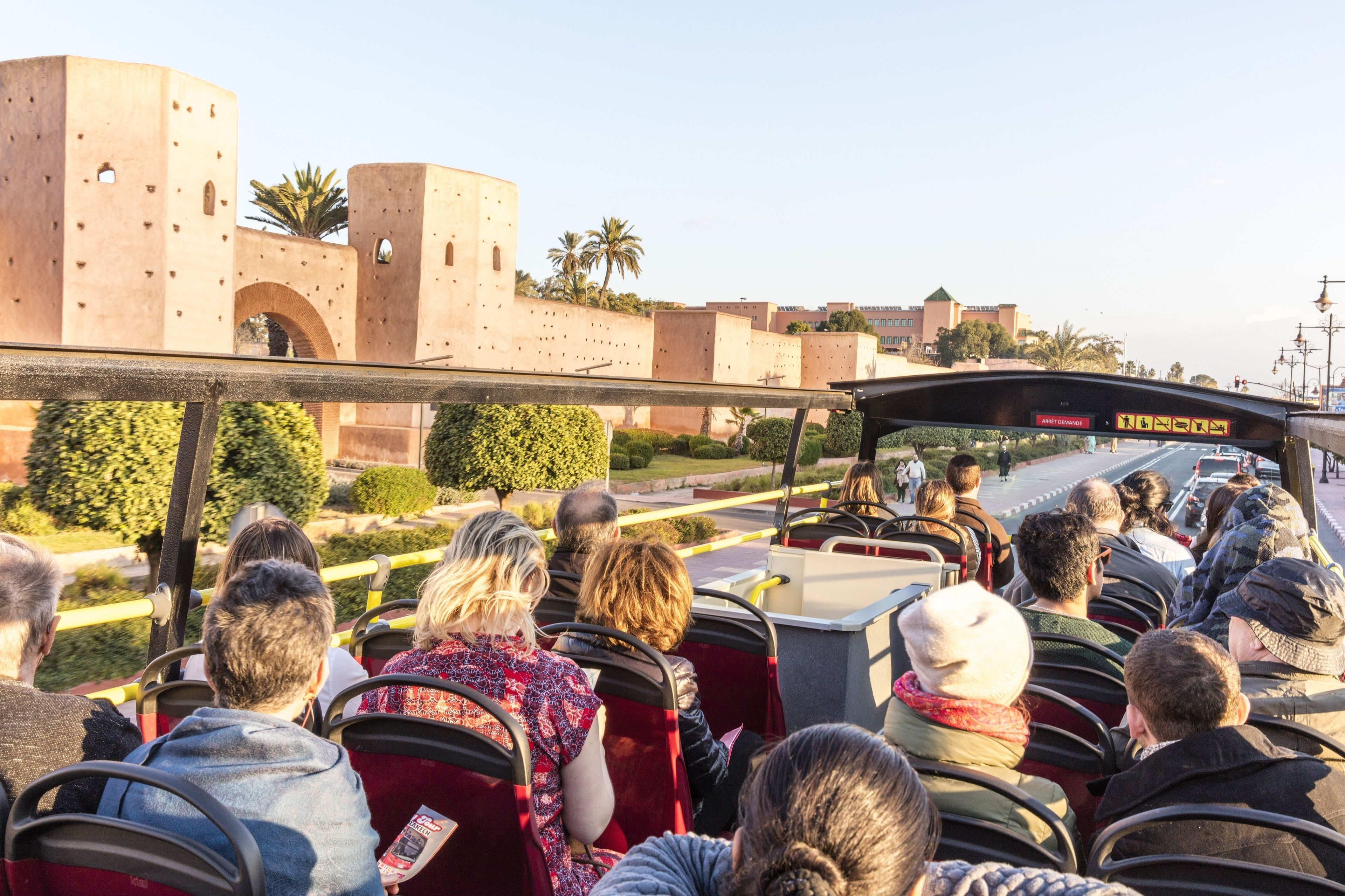 View of a double-decker bus on the Hop On-Hop Off Marrakech City Tour