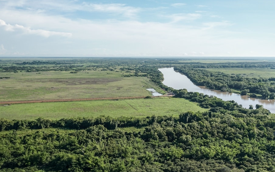 Aerial view of river and surroundings in Australia