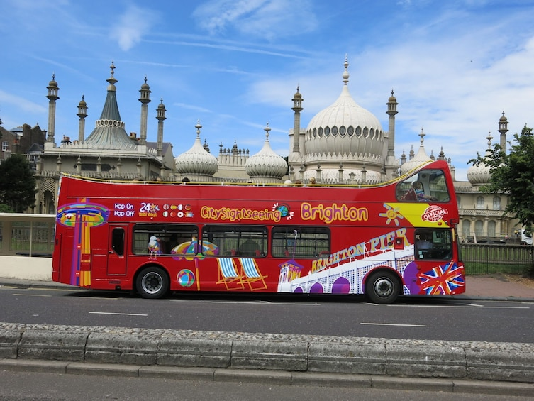 City Sightseeing International double decker bus in front of the Royal Pavilion in Brighton, England