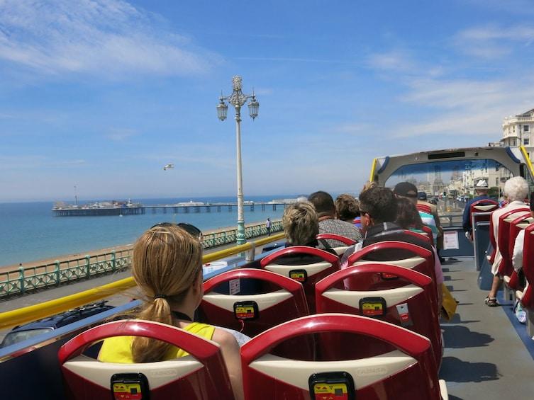 Aboard the double decker bus tour in Brighton