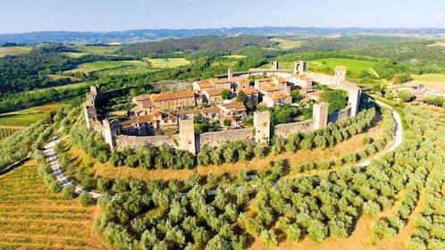 Sunny day view of Monteriggioni, a Comune in Italy