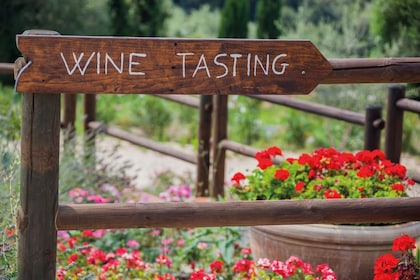 Wine tasting sign at an authentic Tuscan winery