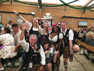 Group in traditional Bavarian costumes at Oktoberfest in Munich
