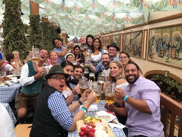 Group toasting beer at Oktoberfest in Munich