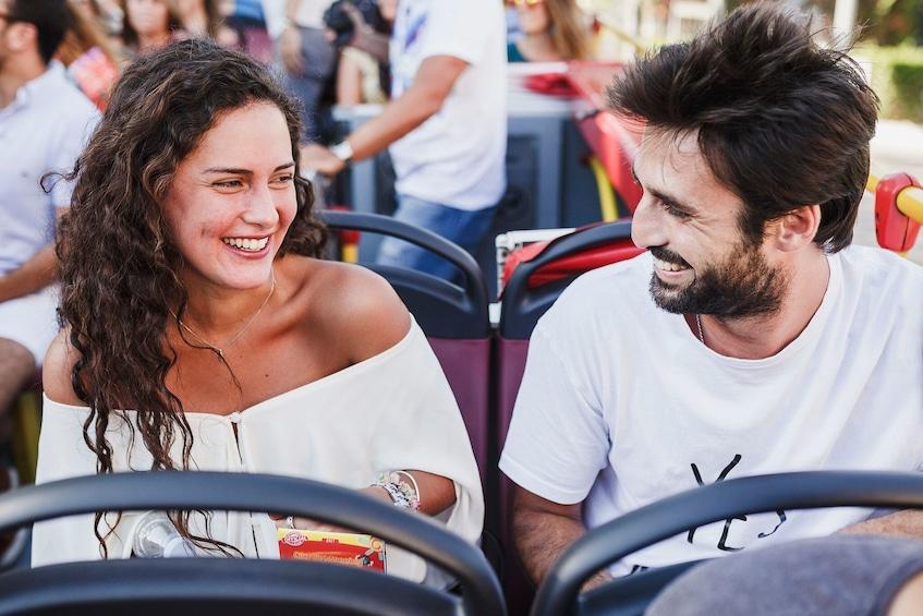 Åpne bilde 3 av 8. Couple on a hop-on hop-off bus in Stavanger