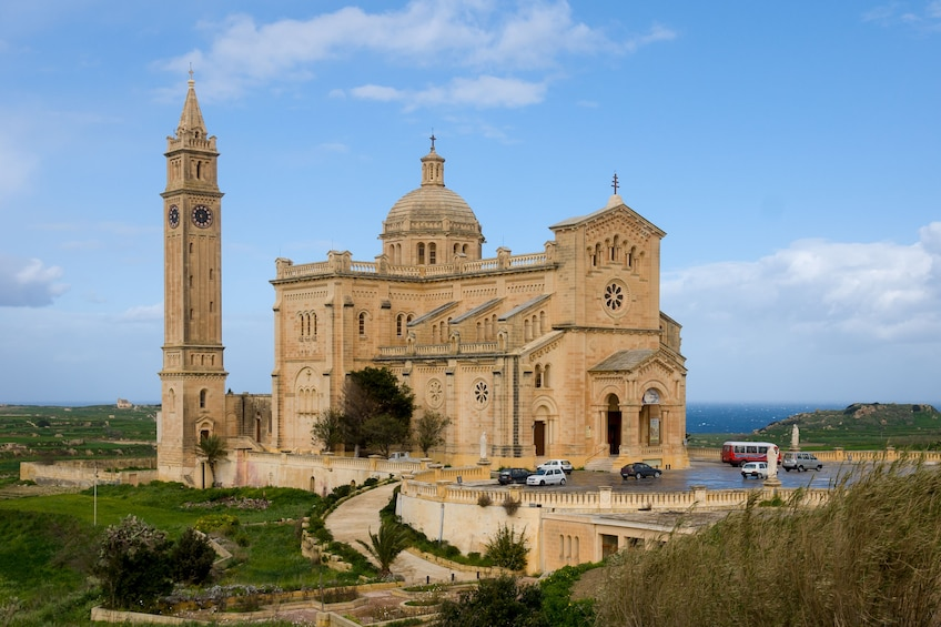 Landscape view of Ta' Pinu, a basilica on the island of Gozo