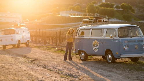 Woman standing next to a VW Bus at sunset