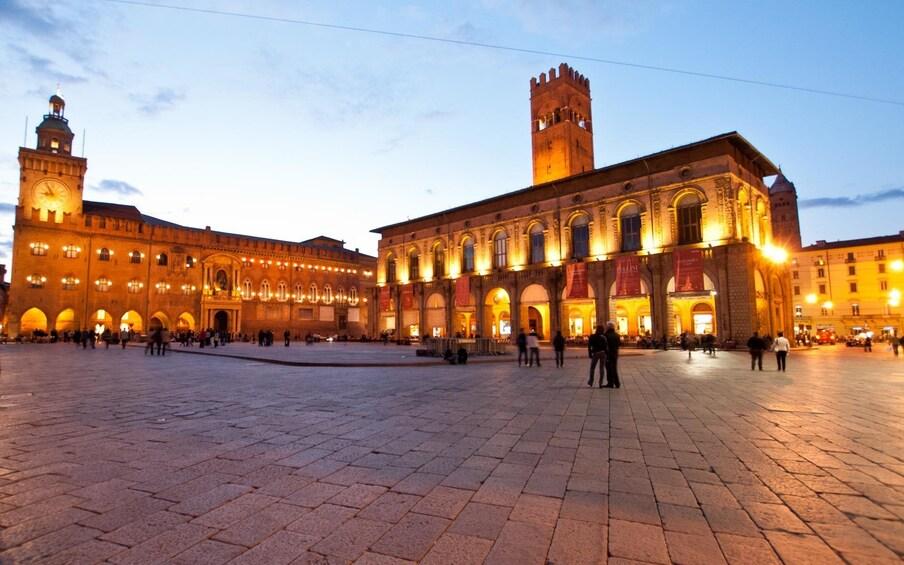 Night view of Piazza Maggiore in Bologna, Italy