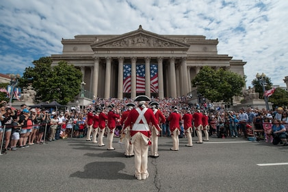 Celebration outside the National Archives building in Washington DC