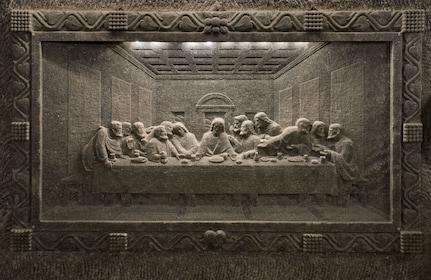 Last supper carving in Wieliczka Salt Mine