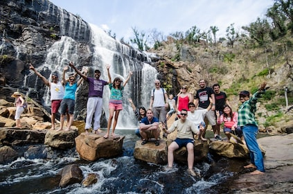 Hiking group at a waterfall in Australia