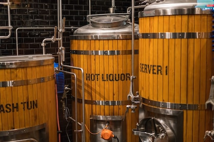 Barrels at a brewery in Melbourne