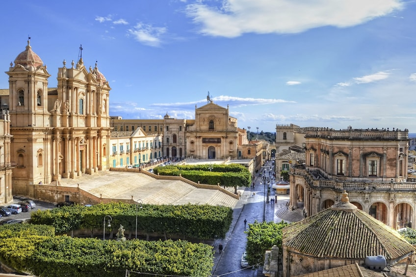 Landscape view of Noto Cathedral in Sicily, Italy