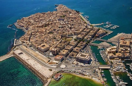 Aerial view of Ortygia Island in Italy