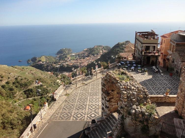 Show item 3 of 6. Stunning Taormina sea coast panoramic view from Castelmola in Sicily