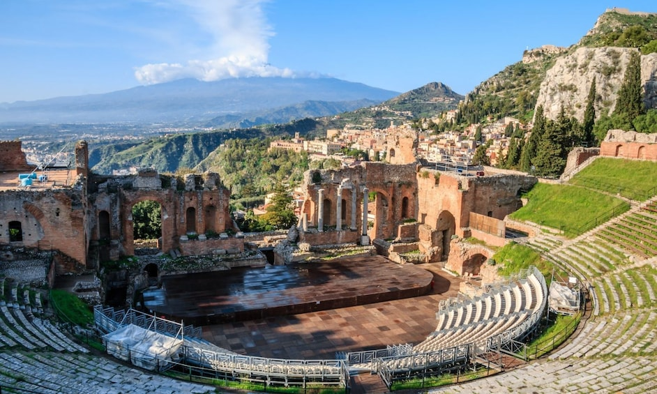 Show item 2 of 6. Sunny views of Castelmola in Sicily, Italy