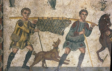 Mosaic floor, Little Hunt, Villa Romana del Casale