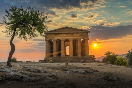 Sunrise view of the Valle dei Templi archaeological site in Agrigento, Sicily
