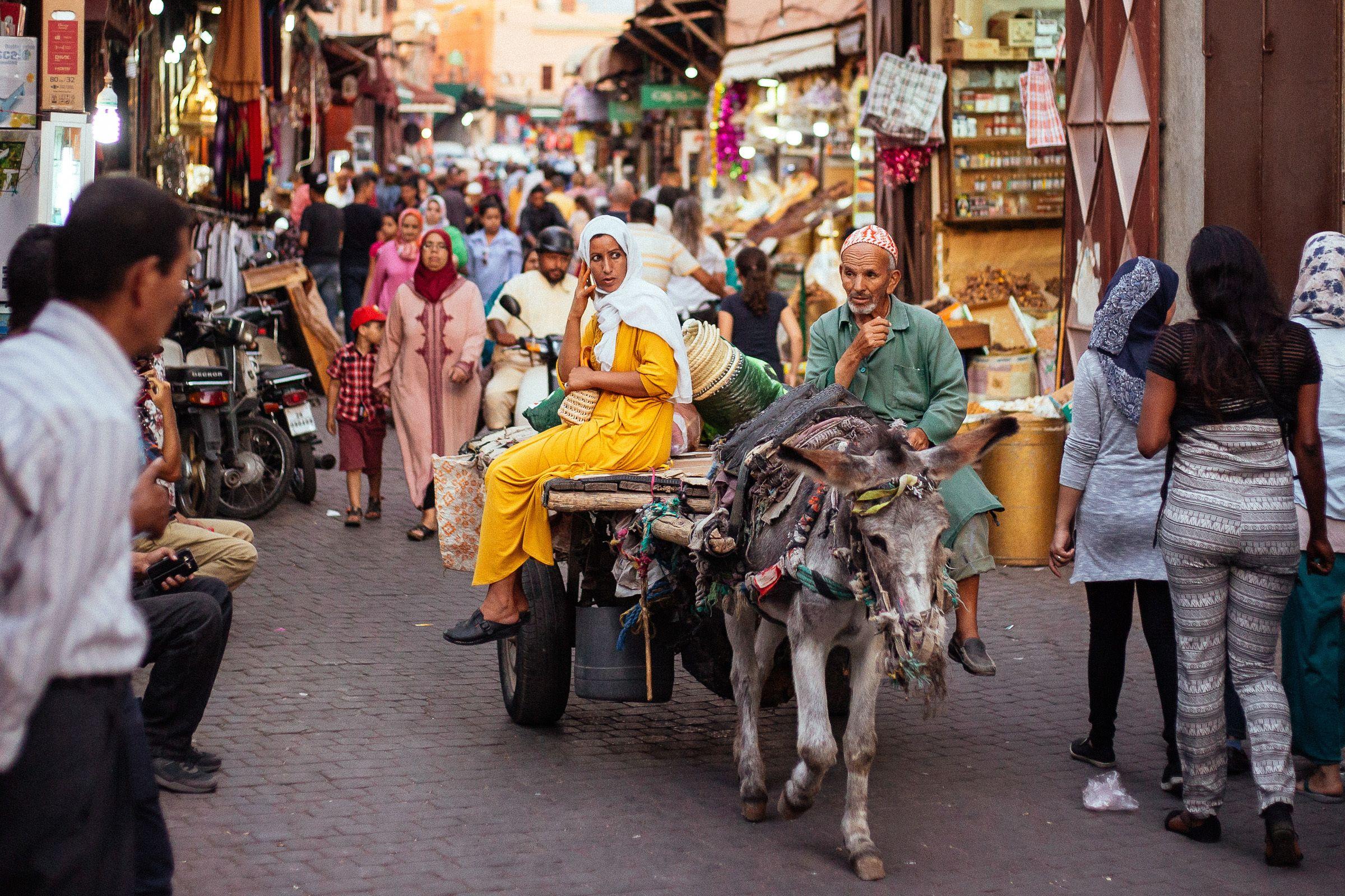 Crowded street in Marrakech