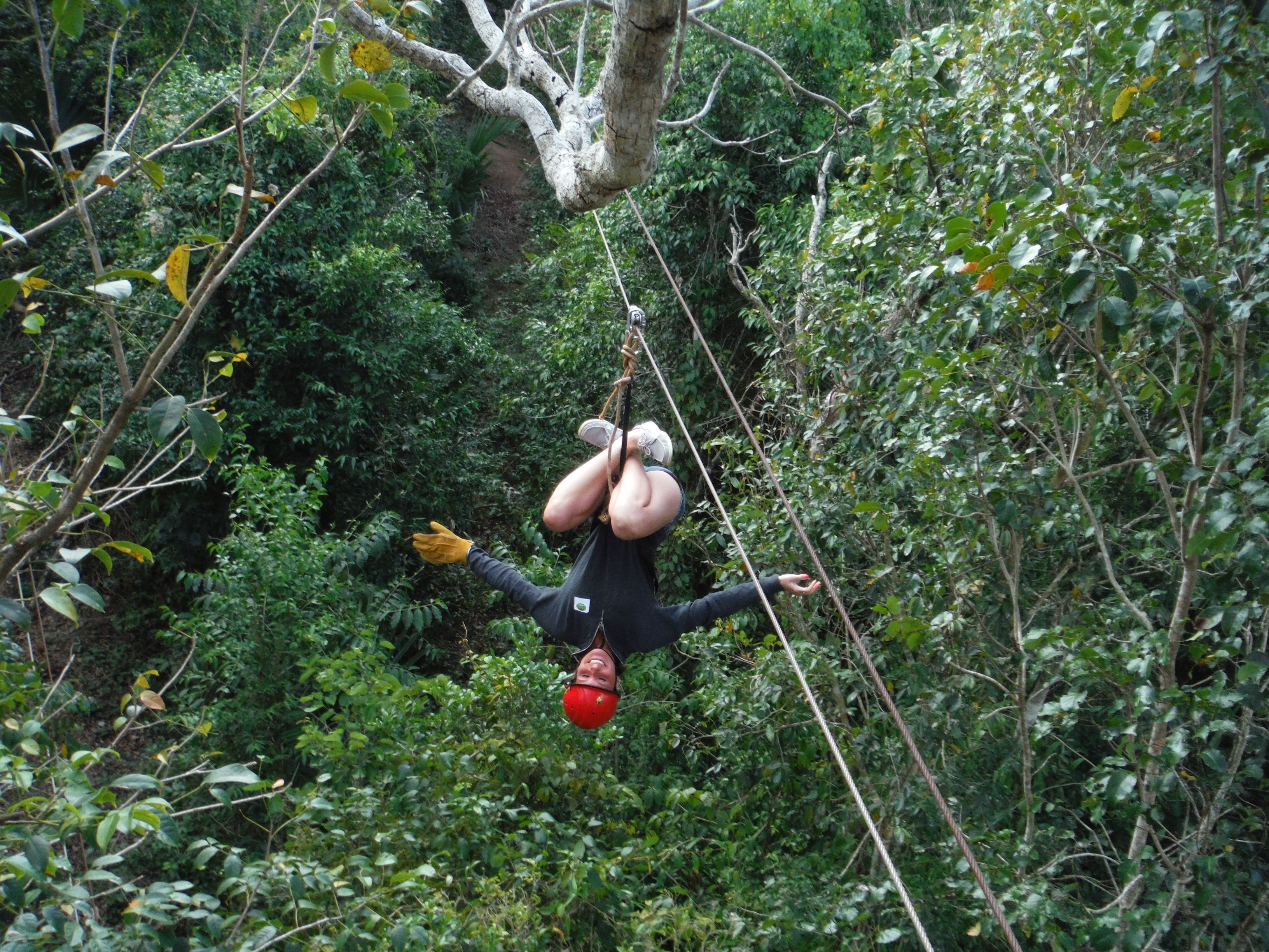 Ziplining man in Cancun