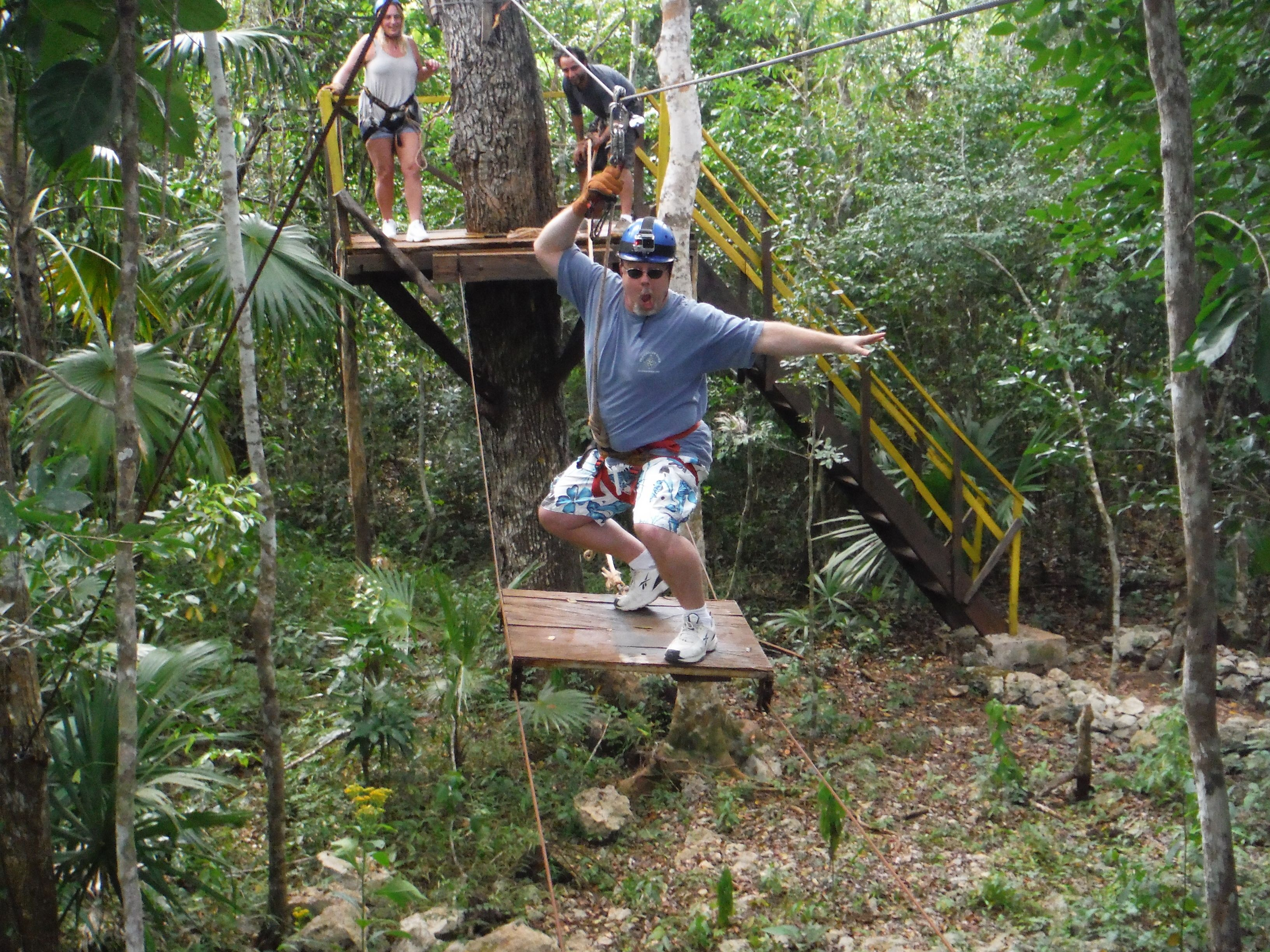 Man on a ropes course in Cancun
