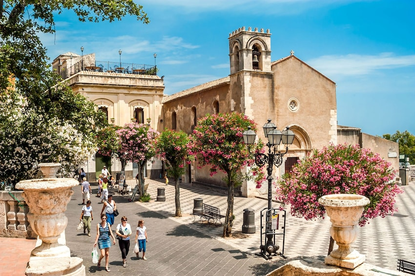 Guests walking the beautiful streets of Taormina