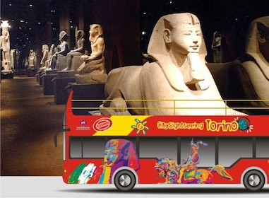 Hop on Hop Off Bus Photoshopped onto an exhibit at Egyptian Museum