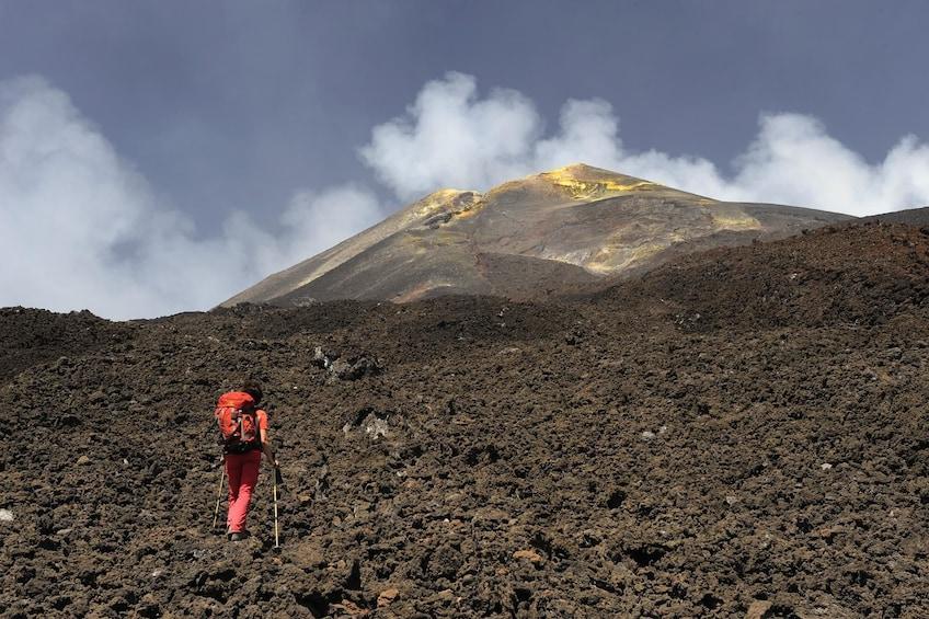 Hiker at Mount Etna