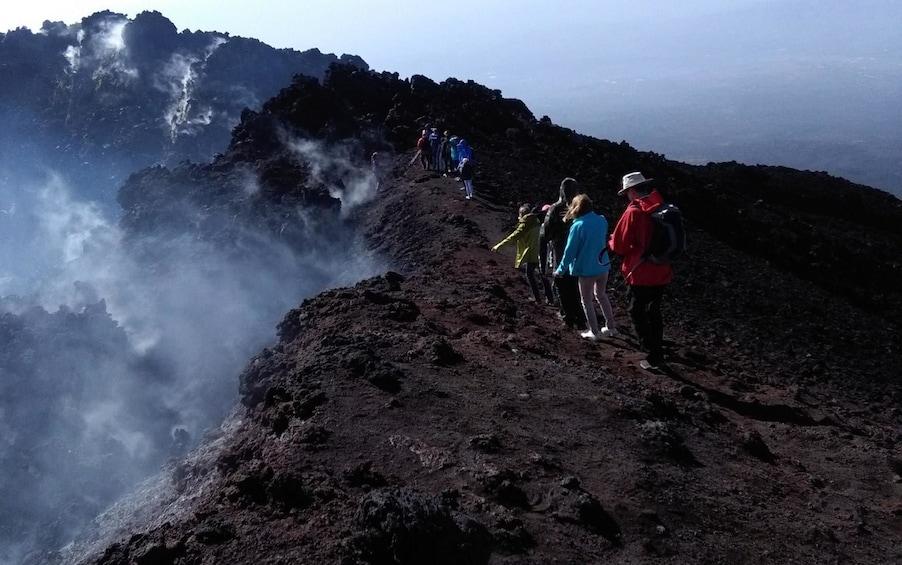 Group hiking Mount Etna