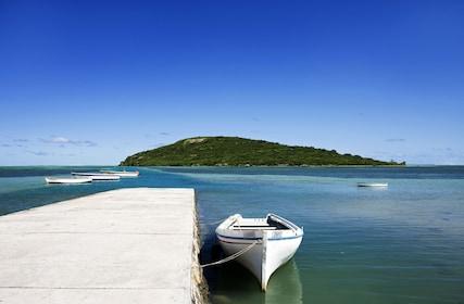 Boats and coastline in Mauritius